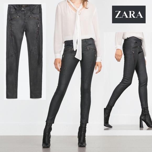 54873f6c Zara Jeans | Moto Biker Black Coated Skinny Nwt | Poshmark